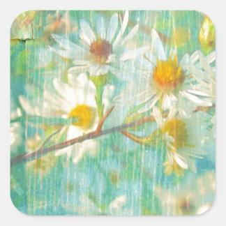 Daisies Grunge Square Sticker