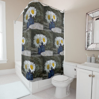 Daisies In A Cobalt Ink Well Shower Curtain