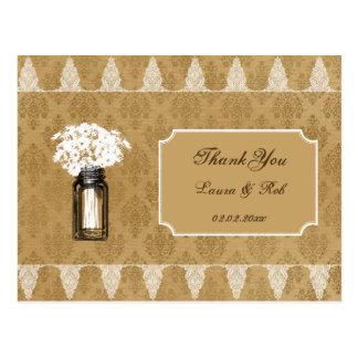 daisies in mason jar, burlap wedding thank you postcard