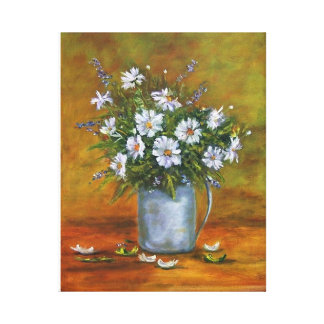 """""""DAISIES IN PITCHER"""" STRETCHED CANVAS PRINT"""