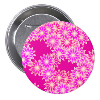 Daisies in shades of pink and orchid 7.5 cm round badge