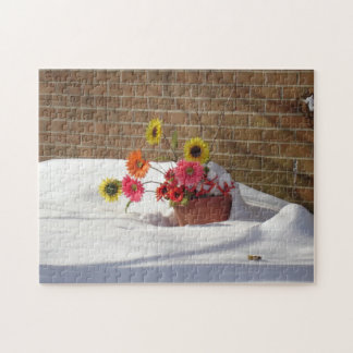Daisies In The Snow Jigsaw Puzzle