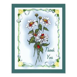 Daisies, Ladybugs: Thank You: Nature Art 11 Cm X 14 Cm Invitation Card