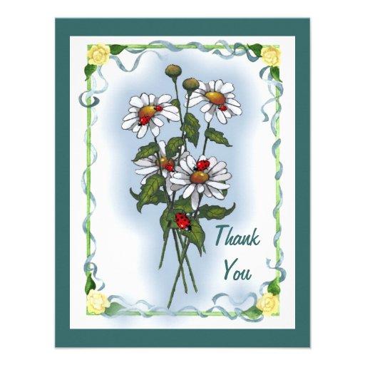 Daisies, Ladybugs: Thank You: Nature Art Custom Invites