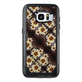 Daisies monogrammed brown OtterBox samsung galaxy s7 edge case
