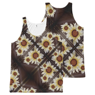 Daisies on brown All-Over print singlet