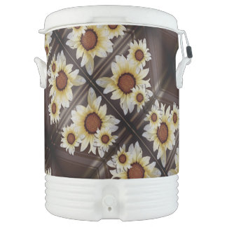 Daisies on brown cooler