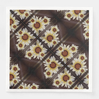 Daisies on brown disposable serviettes