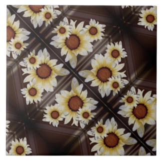 Daisies on brown large square tile
