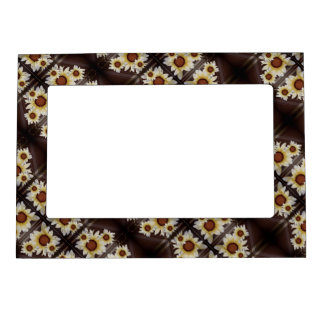 Daisies on brown magnetic frame