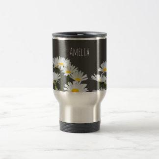 Daisies on Grey Travel Mug