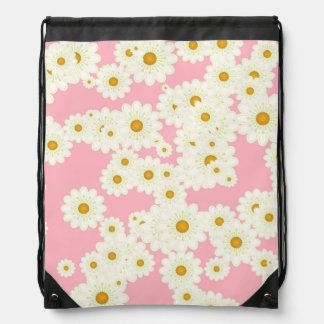 Daisies on pink drawstring bag