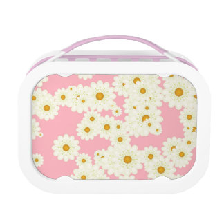 Daisies on pink lunch box