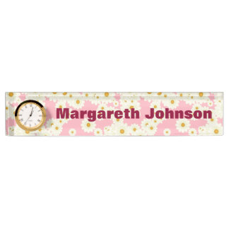 Daisies on pink name plate