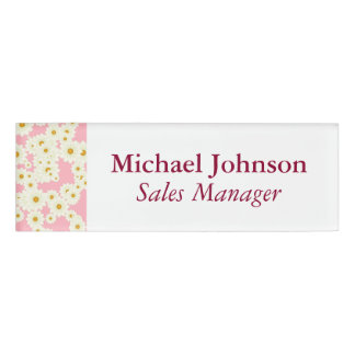 Daisies on pink name tag