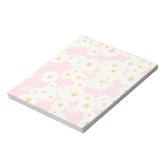 Daisies on pink notepad