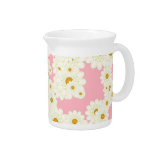 Daisies on pink pitcher
