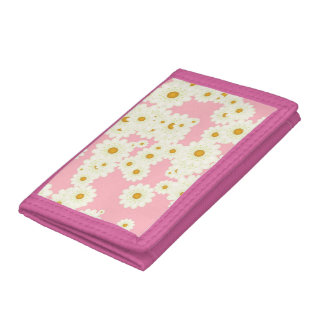 Daisies on pink tri-fold wallets