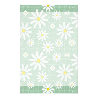 Daisies on Plaid Stationery