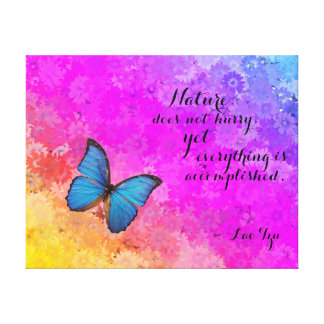 Daisies Rainbow Colors Blu Butterfly Lao Tzu Quote Canvas Print