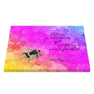 Daisies Rainbow Colors & Bumblebee - Lao Tzu Quote Canvas Print