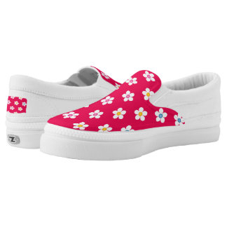 Daisies Red - Women or Men Slip On Canvas Shoes Printed Shoes