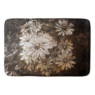 Daisies, Sepia, Grunge Bath Mat