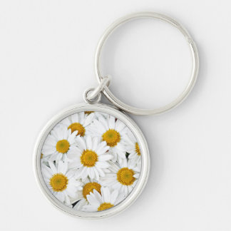 Daisies Silver-Colored Round Key Ring