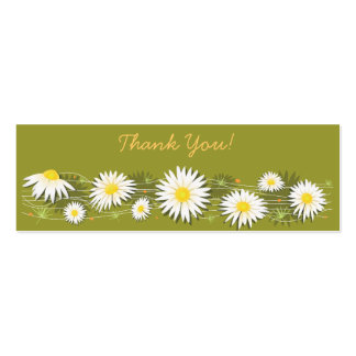 Daisies Thank You Tag Simple Pack Of Skinny Business Cards