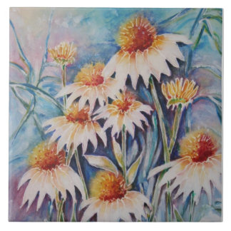 Daisies Large Square Tile