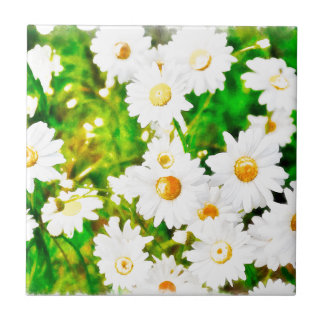 Daisies Watercolor Ceramic Tile