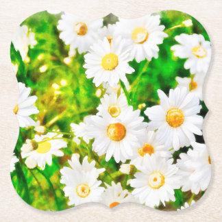 Daisies Watercolor Paper Coaster