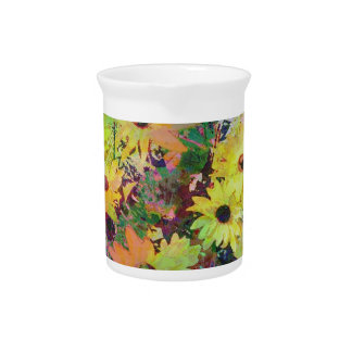 Daisies Watercolor Scene Pitcher