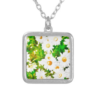 Daisies Watercolor Silver Plated Necklace