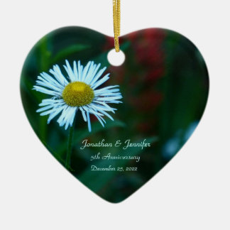Daisy 5th Wedding Anniversary Heart Shaped Ceramic Ornament