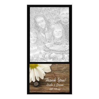 Daisy and Barn Wood Country Thank You Photo Card