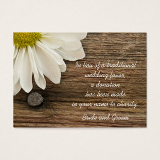 Daisy and Barn Wood Country Wedding Charity Favor Business Card