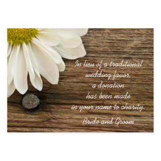 Daisy and Barn Wood Country Wedding Charity Favor Pack Of Chubby Business Cards