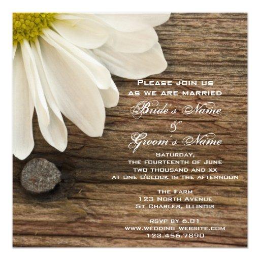 Daisy and Barn Wood Country Wedding Invitation