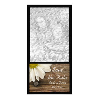 Daisy and Barn Wood Country Wedding Save the Date Customized Photo Card