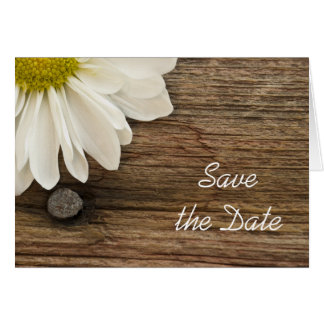 Daisy and Barn Wood Country Wedding Save the Date Greeting Card