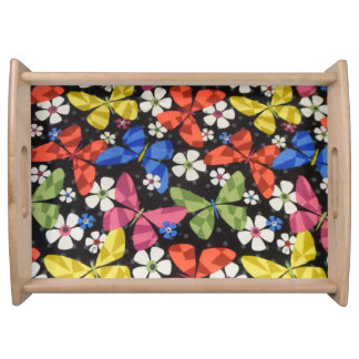Daisy and Butterfly Light Wood Serving Tray