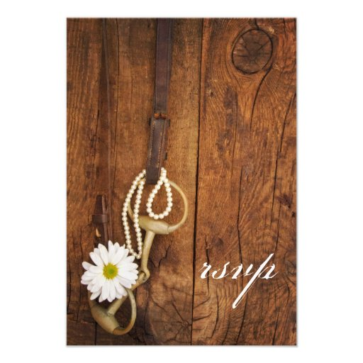 Daisy and Horse Bit Country Wedding Response Card
