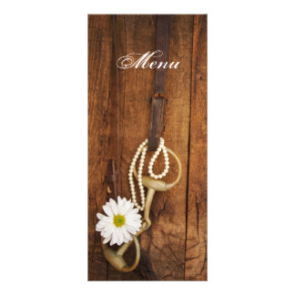 Daisy and Horse Bit Country Western Wedding Menu Rack Card Template