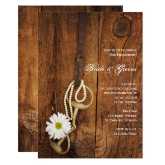 Daisy and Horse Bit Western Engagement Barn Party Card