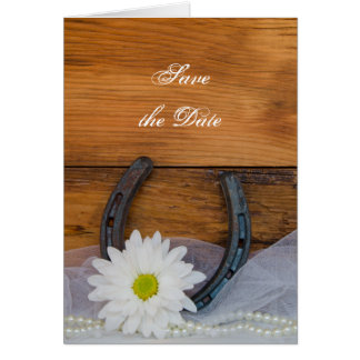 Daisy and Horseshoe Western Wedding Save the Date Card