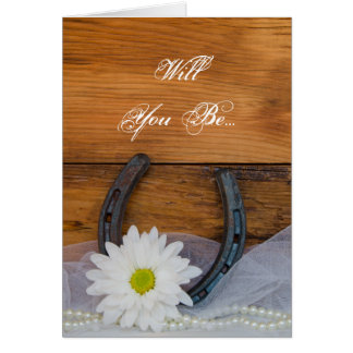Daisy and Horseshoe Will You Be My Bridesmaid Card