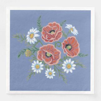 Daisy and Poppy Flowers Paper Napkin