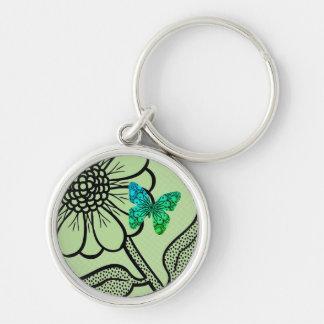 Daisy Aqua Tropical Keyring Silver-Colored Round Key Ring