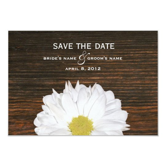 Daisy & Barnwood Wedding Save The Date Card